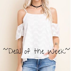 White Short Sleeve Cold Shoulder Top